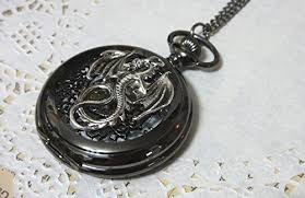 vintage necklace pocket watch images Dragon black pocket watch necklace pendant steampunk jpg