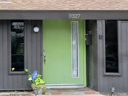 Green Exterior Door Glass Door On The Gray House Combined With Brown Stairs And