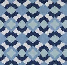 Printed Fabric Roman Shades - navy blue and white geometric upholstery fabric large scale