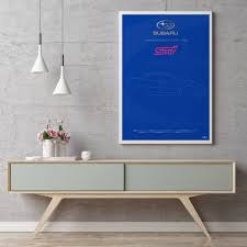 subaru impreza wrx sti poster art print car poster wall