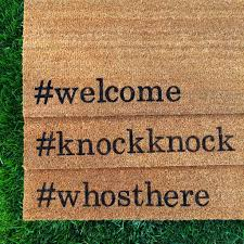 knockknock hand painted customizable funny doormat