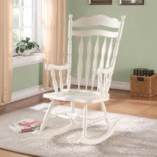 Antique Spindle Rocking Chair Monarch Antique White Embossed Back Solid Wood Rocking Chair