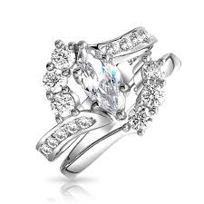 engagement and wedding ring set bridal sterling silver 1ct marquise cz engagement wedding ring set