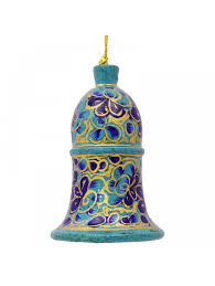 green hanging bell kashmir art paper decorative papier mache wall
