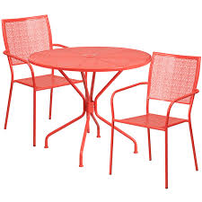 Patio Round Tables 35 25 U0027 U0027 Round Coral Indoor Outdoor Steel Patio Table Set With 2