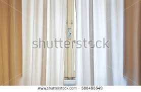 Grey White Curtains Beautiful Modern Grey White Curtains Living Stock Photo 435792454