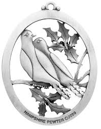 two turtle doves ornament handcrafted new hshire