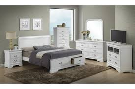 Bedroom Furniture Tv Cabinet Modern White Stained Wooden Bed With End Storage Drawer Using