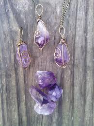purple crystal stone necklace images Raw amethyst necklace pendant boho necklace healing stone jpg