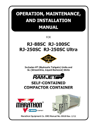marathon rj 250sc installation manual