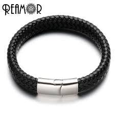 braided leather charm bracelet images Reamor simple style male wide braided leather charms bracelet with jpg