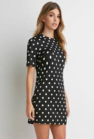 forever 21 textured polka dot dress in black lyst