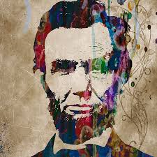 Color Painting by Abraham Lincoln Watercolor Modern Abstract Pop Art Color Painting