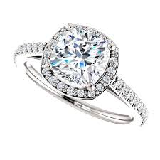 engagement ring uk one carat cushion cut halo moissanite ring diamondsandrings co uk