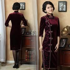 vintage green cheongsam traditional chinese silk velvet dress