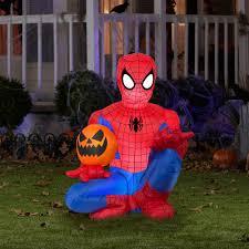 4 u0027 tall spiderman holding pumpkin halloween airblown inflatable