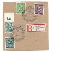 Post Bad Cannstatt Briefstück Alliierte Besetzung Michel Nr 921 922 923 949 Por