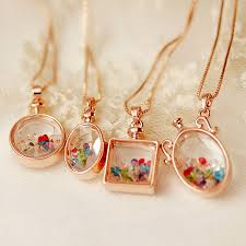 crystal glass pendant necklace images High quality rose gold color square round magic wishing perfume jpg