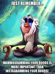Mammogram Meme - just remember mammogramming your boobs is more important than