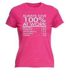 always give 100 at work womens t shirt funny working office