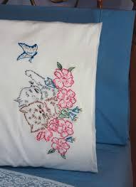 fairway needlecraft kitten pillowcase embroidery kit 83079