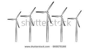 wind turbine front background 3d rendering stock illustration