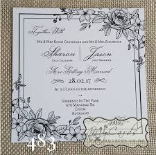 wedding invitations new zealand lineart flowers square wedding invitation design 483
