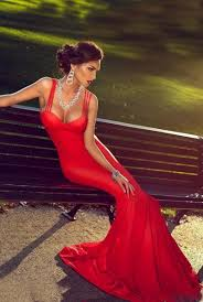 red mermaid straps 2017 prom dress sweep train sleevless