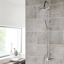 modern thermostatic 1 outlet dual shower valve with rigid riser kit