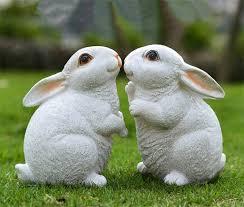 white handmade rabbit figurines resin garden