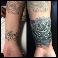 rose tattoo cover up by oksana weber at http bodyandsoultattoos