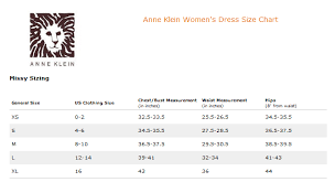 ann klein women u0027s dress size chart