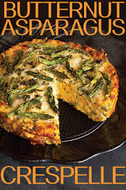 butternut squash and roast asparagus crespelle torta recipe