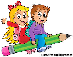 a cute boy and cartoon flying on pencil with bag