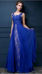 party frocks royal blue lace chiffon popular 2018 prom dresses appliques