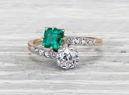 vintage emerald engagement rings vintage engagement rings erstwhile jewelry nyc