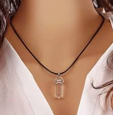 crystal stone pendant necklace images Natural quartz crystal stone point chakra healing gemstone pendant jpg