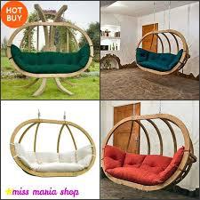 double hammock chair hanging swing seat green wooden weatherproof