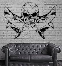 sharks and skull scary marine animal decor wall mural vinyl art sharks and skull scary marine animal decor wall mural vinyl art sticker m359