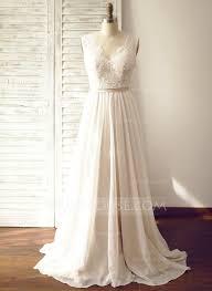 Chiffon Wedding Dresses A Line Princess V Neck Court Train Chiffon Wedding Dress