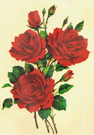 Red Shabby Chic Furniture by 1 Bunch Of 3 Red Roses Vintage Decals Transfer Floral Shabby Chic