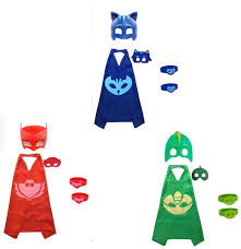 2017 new 3 packs pjmasks inspired costume cape mask 6pcs