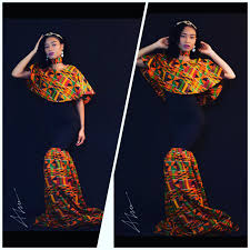 cheap and classic african ankara prom dress with cape and
