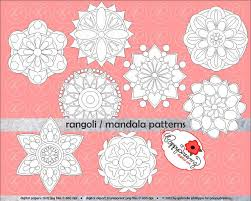 rangoli madala geometric circles clipart set 300 dpi