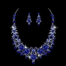 bride necklace images 2018 royal blue bridal jewelry crystal shinning bride necklace jpg