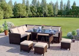 High Top Patio Furniture Set by Rattan Corner Garden Sofa Dining Table Set Furniture Black Brown