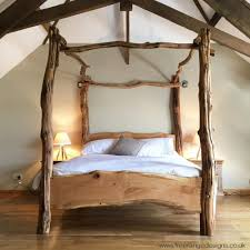 Bed Frames Oak Rustic Oak Four Poster Tree Bed Beautiful Chunky Wooden Bed Frame