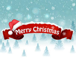 merry christmas background with red realistic ribbon banner and