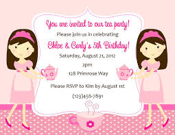 Twins 1st Birthday Invitation Cards Tea Party Invitation Twins