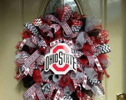 ohio state ribbon christmas deco mesh wreath christmas wreath winter deco mesh